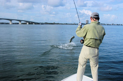 Rick happle 39 s sarasota bay fly tarpon jump cyberangler for Fly fishing bay area