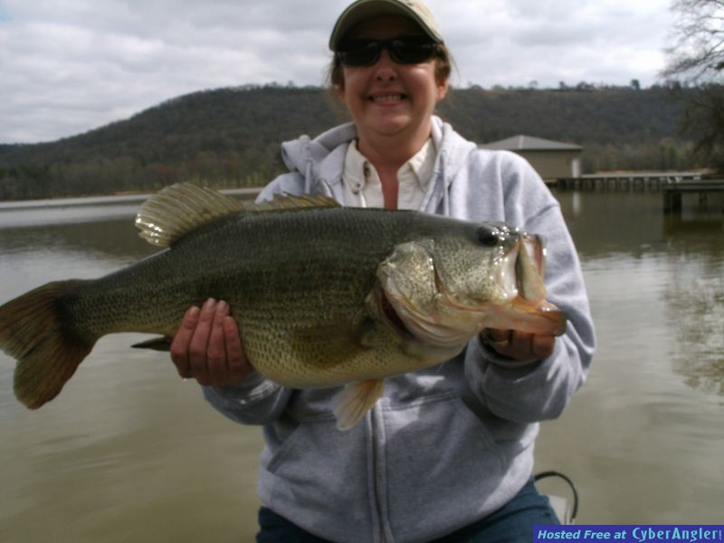 Lady with 11 pound Guntersville lake bass