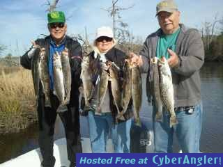 Trout fishing is on fire in the backwaters in holden beach for North carolina fishing report