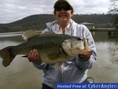 Lady with 11 pound Guntersville lake bass